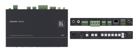 Kramer 906 2x1 Stereo Audio Amp & Switcher (6.8 Watts per Channel)