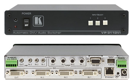 Kramer VP-311DVI 3x1 Automatic DVI Analog/Digital Audio Switcher