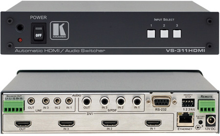 Kramer VS-311H 3x1 HDMI and SPDIF Digital Audio Standby Switcher