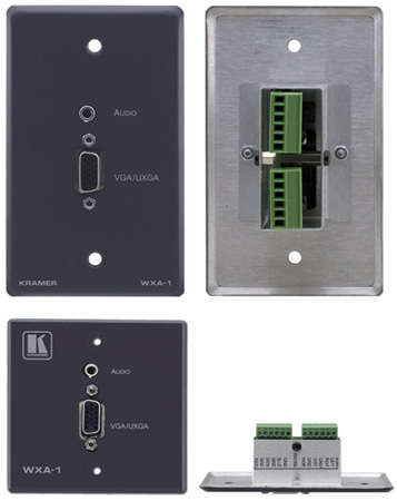 Kramer WXA-1 Passive Wall Plate 15-pin HD & 3.5mm Stereo Audio (White)