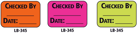 1x1.5 Warning Label 200 Pk Hot Pink (Checked By)