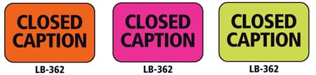 1x1.5 Warning Label 1000 Pk Lime Green (Closed Caption)
