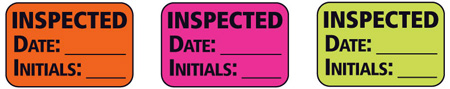 1x1.5 Warning Label 500 Pk Hot Pink (Inspected Date Initials)