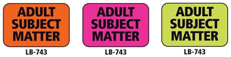 1x1.5 Warning Label 500 Pk Hot Pink (Adult Subject Matter)
