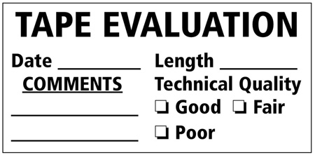 2x4 Tape Evaluation Labels 100 Pack