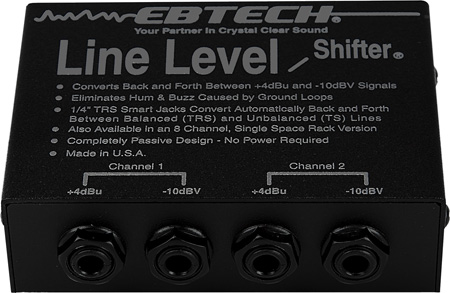 Ebtech LLS-2-XLR 2-Ch Line Level Shifter with 1/4in Smart Jacks and XLR Jacks