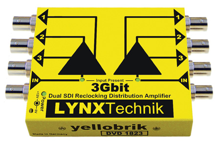 LYNX Technik Yellobrik DVD 1823 Dual 3Gbit SDI Reclocking Distribution Amplifier