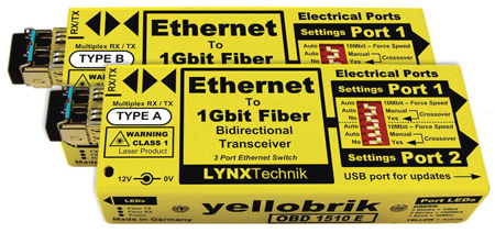Yellobrik OBD 1510 E - Bidirectional Ethernet to Fiber Extender (pair)
