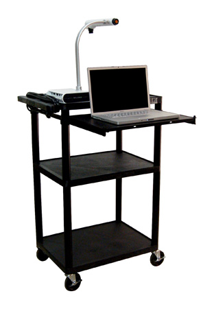 Luxor LP42LE-B Plastic AV Cart with Electric & Laptop Shelf 42Hx24W