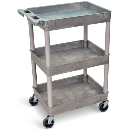 Gray 18x24 Two Shelf Tub Cart
