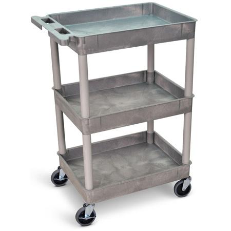 Gray 18x24 Three Shelf Tub Cart