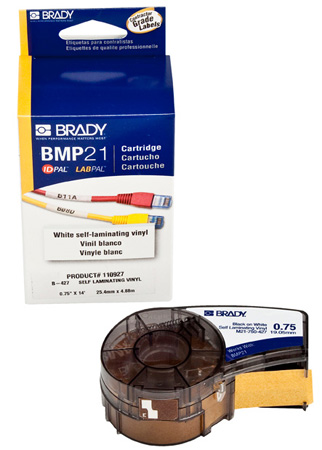 Brady M21-750-427 Self-Laminating Black on White/Translucent Tape 3/4x14 ft