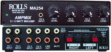 Rolls MA254 Compact Class D Stereo Amp w/a 4 Channel Built in Stereo Mixer