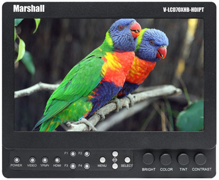 Marshall V-LCD70XHB-HDIPT-PV 7 Inch Camera-Top LCD Monitor - PV Battery Mount