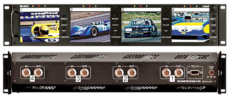 Marshall V-R44P Quad 4-Inch Rack Mounted LCD Panel