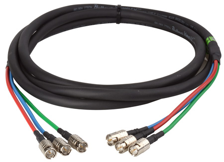 3-Channel SDI Canare Slim Series BNC Cable with Belden 7787A - 10 Foot