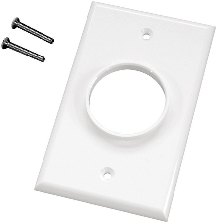 Single Gang White Wireport Cable Pass Through Plate