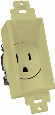 Single Gang Decor Recessed AC Receptacle Ivory