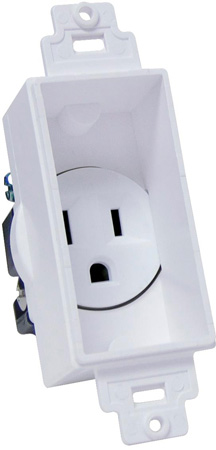 Single Gang Decor Recessed AC Receptacle White