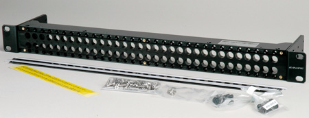 Canare MJ2-M32-2U-BLK 2x32 2 RU Unloaded Patch Panel with Jack Mount Screws 2RU