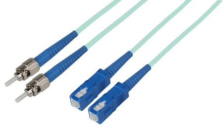 5-Meter 50/125 Fiber Optic Patch Cable Multimode Duplex ST to SC - 10-Gig Aqua