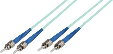 5-Meter 50/125 Fiber Optic Patch Cable Multimode Duplex ST to ST - 10-Gig Aqua