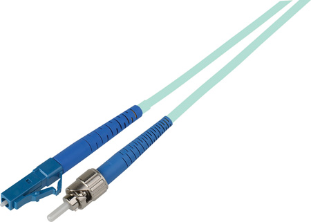 3-Meter 50/125 Fiber Optic Patch Cable Multimode Simplex ST to LC - 10-Gig Aqua