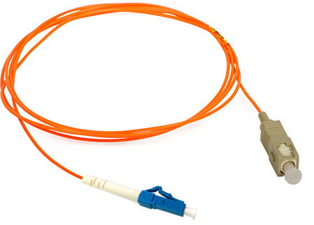 3-Meter 62/125 Fiber Optic Patch Cable Multimode Simplex LC to SC - Orange