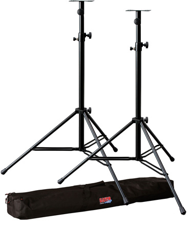 Two Heavy Duty Speaker Stands with Heavy Duty Gator Carry Bag Kit