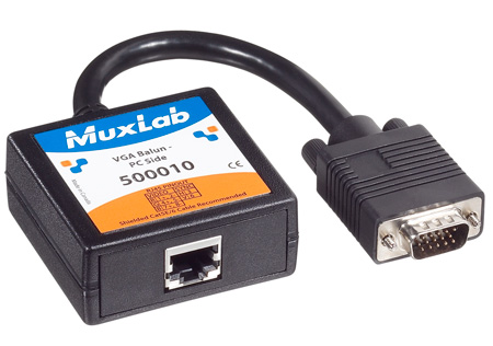 MuxLab 500010 VideoEase VGA Balun for PC Side with HD15 Male and 6 Inch Lead