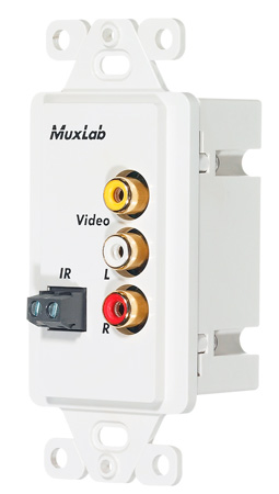 MuxLab 500049-WP-US Stereo AV/IR Pass-Thru Wall Balun