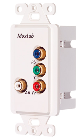 MuxLab 500053-WP-US Component Video/Analog Audio Wall Plate Balun