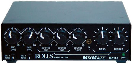 Rolls MX153 MixMate 1/2RU 2 Mic & 3 Stereo Source Mixer w/PS27
