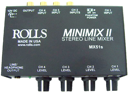 Rolls MX51S Mini Mix II 4 Channel Mixer with Headphone Jack