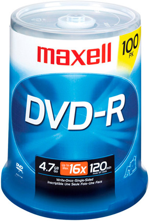 Maxell 638014 16x Write-Once DVD-R Spindle - 100 Disc Spindle
