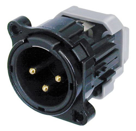 Neutrik NC3MBY-B B Series IDC 24-26 WGA Range Black 3 Pin Male XLR Connector