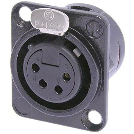 Neutrik NC4FD-L-B-1 D-Series 4-Pin Female XLR Connector - Black and Gold