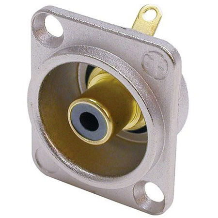 Neutrik NF2D-0 Phono Socket - Nickel D-shape w/Colored Washer - Black