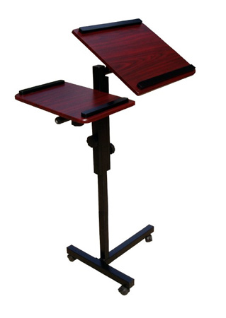 Rolling Multi-Purpose Presenters Stand With 2 Cherry Adjustable Height Shelves