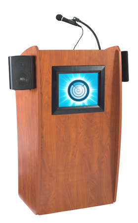 Oklahoma Sound 612S 15-Inch LCD Digital Display & Sound Vision Lectern - Cherry