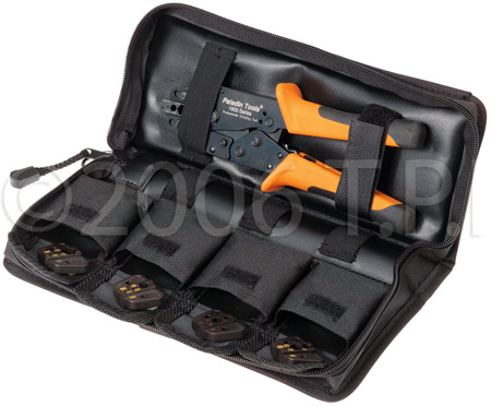Greenlee 1600 Broadcast Pack Crimp Tool w/5 Coax Die Set In Carry Pouch