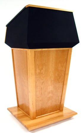 PRES500-BP Presidential Bulletproof Podium (Walnut Wood/ Red Fabric)