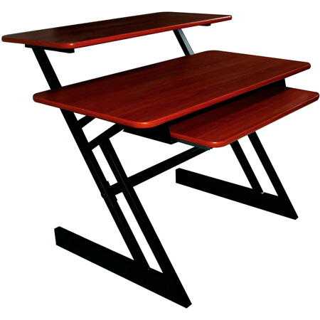 QuikLok AMS-Z-250 BKCY Triple Shelf Workstation with Cherry Wood Tops and Shelf