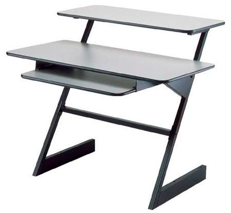 QuikLok AMS-Z-250 BKGR Triple Shelf Workstation with Gray Wood Tops and Shelf