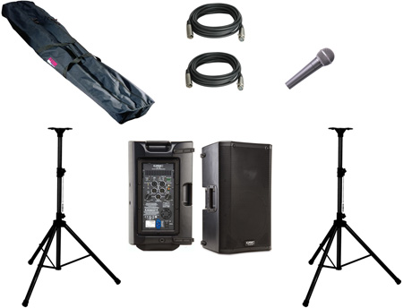 PA System 2 QSC K10 2-way Powered Loudspeaker 2 Stands & Bag 2 Cables 1 Mic