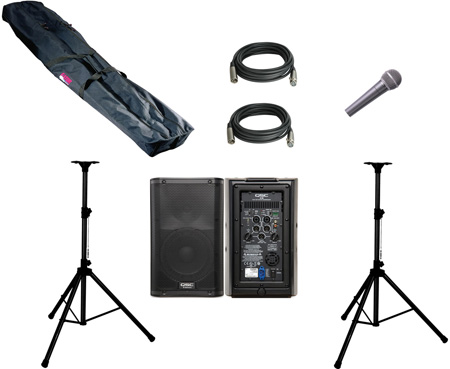 PA System 2 QSC K8 2-way Powered Loudspeaker 2 Stands & Bag 2 Cables 1 Mic
