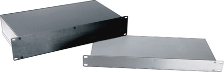 2 RU Rack Mountable black project box with Anodized Panels