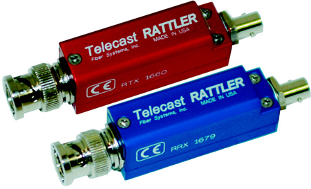 Telecast Rattler 1.5Gbs HD/SDI ST Fiber Optic Transmitter and Receiver Kit