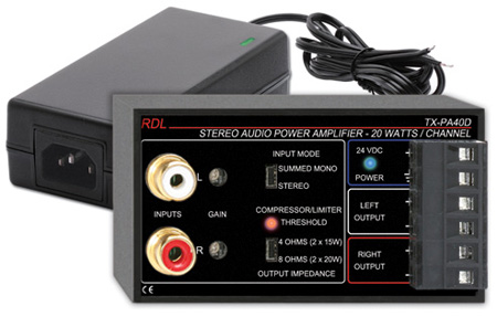RDL TX-PA40D 40 W Stereo Audio Amplifier - 8 Ohm with Power Supply