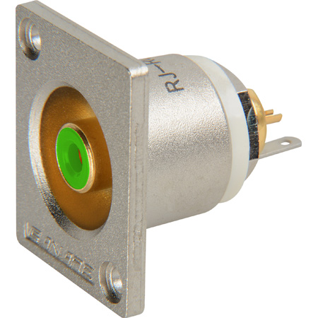 Canare Recessed RCA to Solder Point Bulkhead with Green Insert